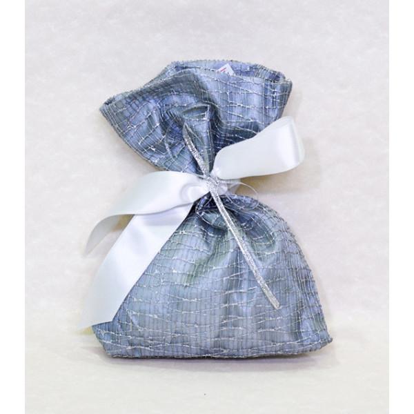 Μπομπονιέρα Γάμου πουγκί ασημί με ασημί ρίγες