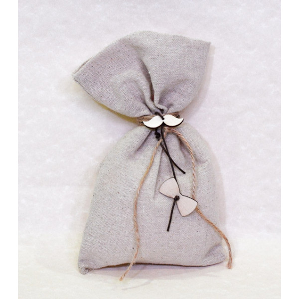 Μπομπονιέρα Γάμου πουγκί καμβάς με ξύλινα διακοσμητικά