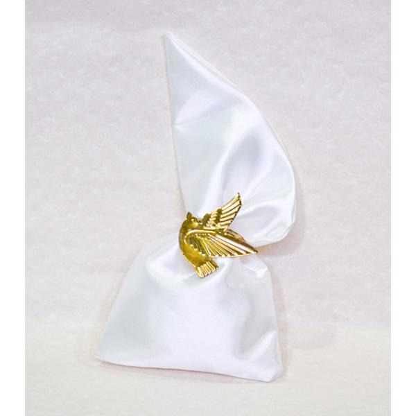 Μπομπονιέρα Γάμου πουγκί μύτη σατέν με μεταλλικό περιστέρι Πετσετοθήκη