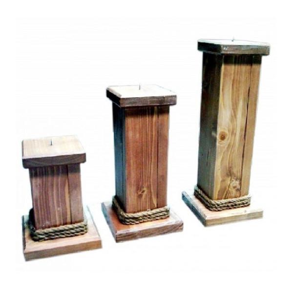 Κηροπήγιο ξύλινο με σκοινί