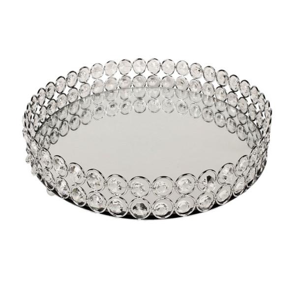 Δίσκος μεταλλικός με καθρέφτη ασημί με κρύσταλλα