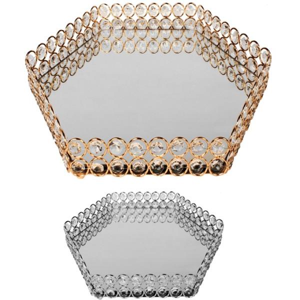 Δίσκος μεταλλικός με καθρέφτη πολύγωνος