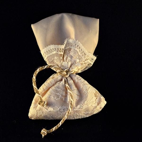 Μπομπονιέρα Γάμου Πουγκί Ταφτάς-Δαντέλα 17Χ13