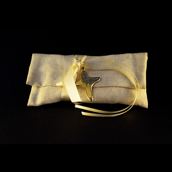 Μπομπονιέρα Γάμου Πουγκί Λινό Σταυρός