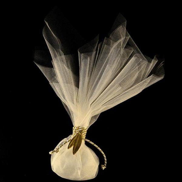 Μπομπονιέρα Γάμου Διπλό Γαλλικό Τούλι με Διακοσμητικό