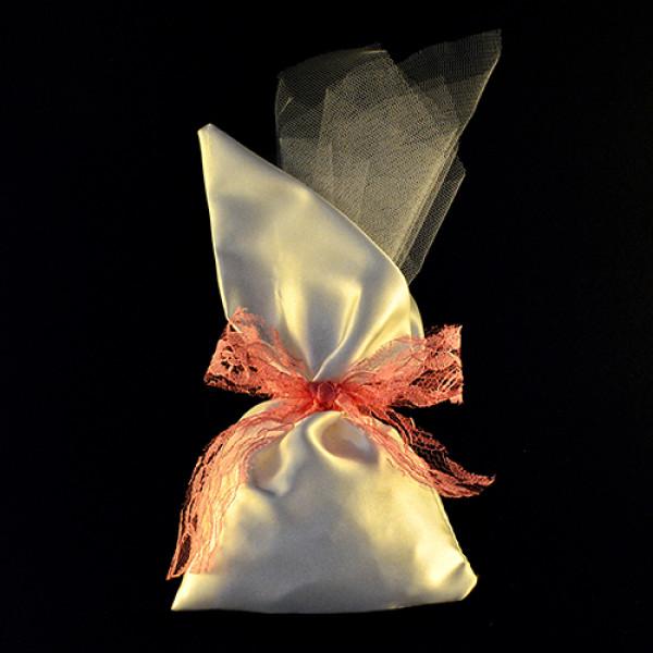 Μπομπονιέρα Γάμου Πουγκί Σατέν με Μύτη 14Χ26 & Τούλι