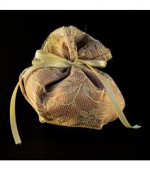 Μπομπονιέρα Γάμου Πουγκί Στρογγυλό Σατέν-Δαντέλα