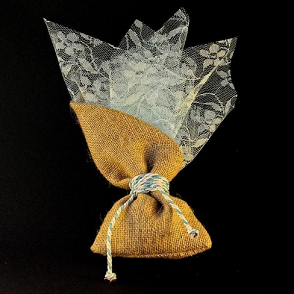 Μπομπονιέρα Γάμου Πουγκί Με Μύτη Δαντέλα 45Χ45
