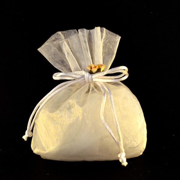 Μπομπονιέρα Γάμου Πουγκί Οργάτζα με Ανθάκι