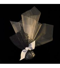 Μπομπονιέρα Γάμου Τούλι 40Χ40-Δαντέλα 25Χ25