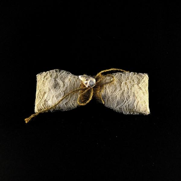Μπομπονιέρα Γάμου Φιόγκος Λινάτσα με Κοχύλι