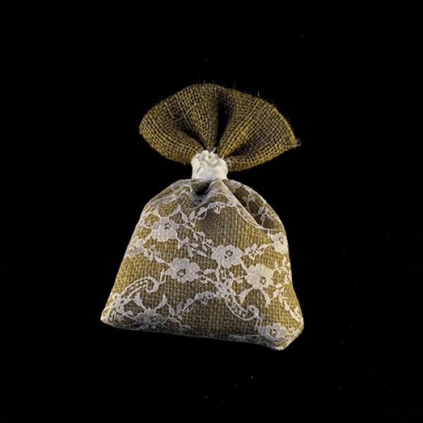 Μπομπονιέρα Γάμου Πουγκί Λινάτσα-Δαντέλα 15Χ20