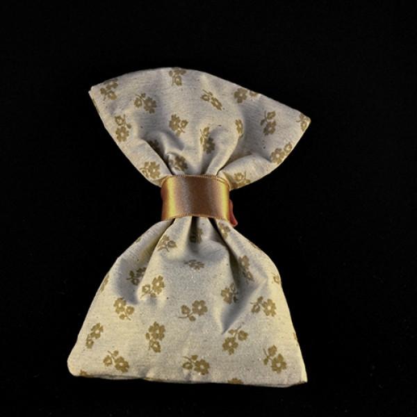 Μπομπονιέρα Γάμου Πουγκί Ύφασμα Φλοράλ μπέζ