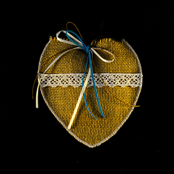 Μπομπονιέρα Γάμου Πουγκί Λινάτσα Καρδιά
