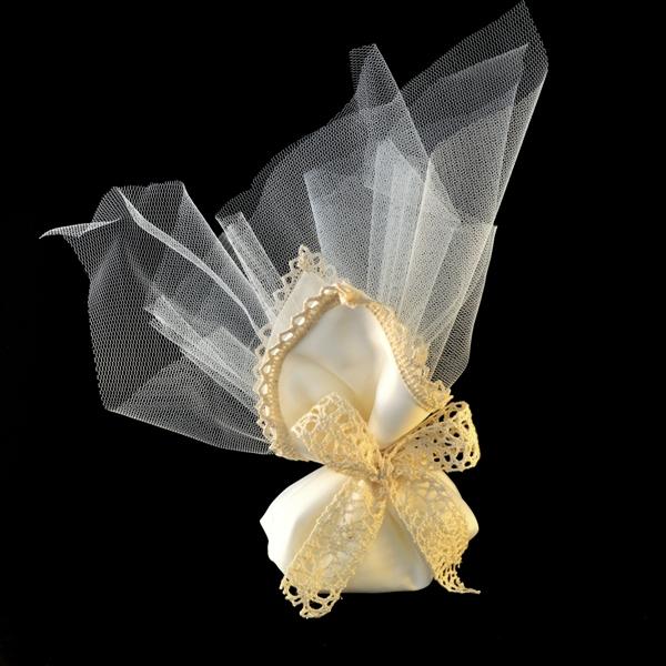 Μπομπονιέρα Γάμου Πουγκί Βαμβακερό με Πλεκτό-Τούλι