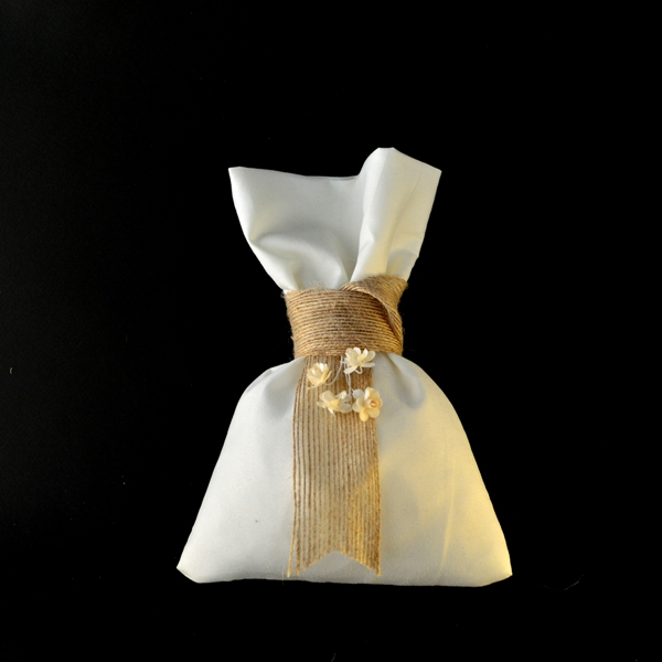 Μπομπονιέρα Γάμου Πουγκί Βαμβακερό και Λουλούδια