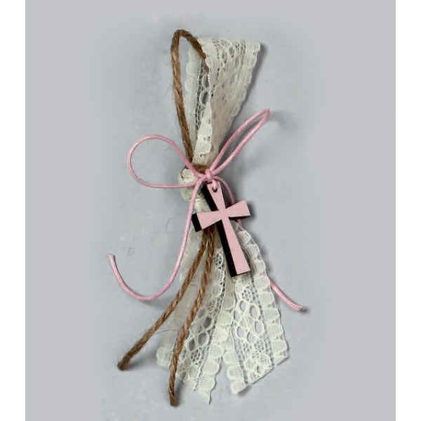 Μαρτυρικά δαντέλα και ροζ ξύλινο σταυρό